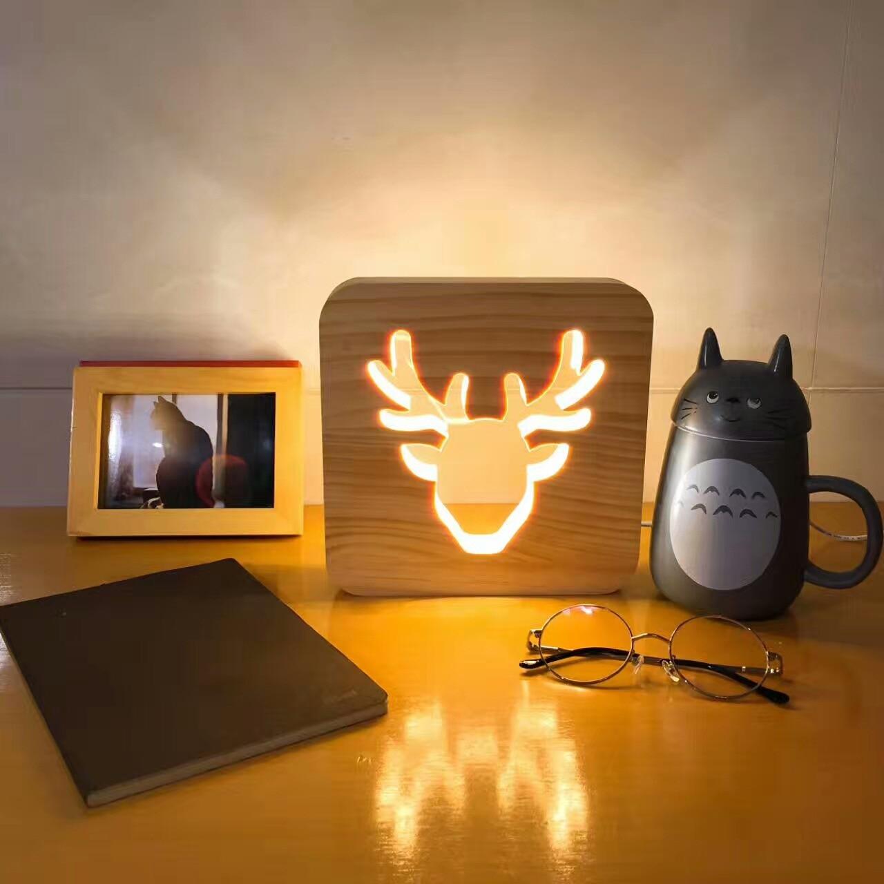Decor Nightlight Wooden 3D Night Light DEER Crown Decorative Desk ...