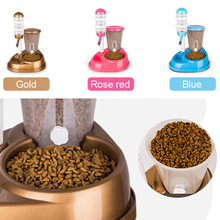 2 In 1 Pet Cat Dog Automatic Feeder with Large Capacity Water Fountain Food Bowls and Water Bottle Dispenser for Dog Cat Rabbit