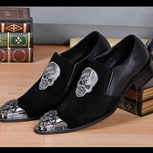 High Quality Fashion Genuine Leather Mens Dress Shoes Pointed Toe Business Leather Shoes Slip on Oxfords Men's Flats Plus Size