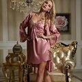 XIFENNI Marca Imitação de Seda Sets Robe de Pijama Sleepwear Roupões de Banho Das Mulheres de Alta Qualidade Bordado Lace Lingerie Com Decote Em V Set 8203