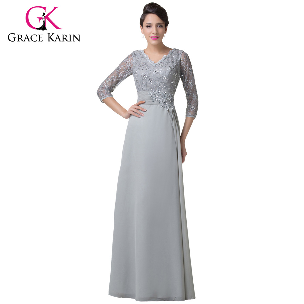 Grey Mother of the bride Dress Grace Karin Long Sleeves Evening Gown ...