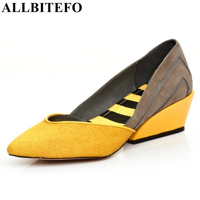 ФОТО ALLBITEFO mixed colors wedges pumps real horsehair medium heels genuine leather women pumps 2017 new wedding shoes for woman