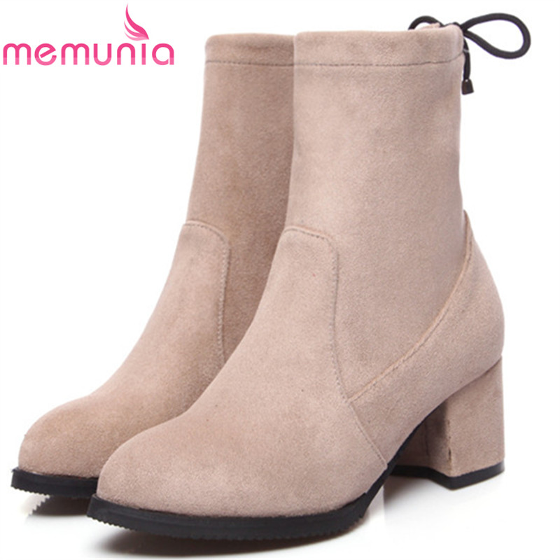 MEMUNIA Ankle boots for women high heels shoes woman pointed toe fashion boots female party flock solid big size 34-43 new 2017 spring summer women shoes pointed toe high quality brand fashion womens flats ladies plus size 41 sweet flock t179