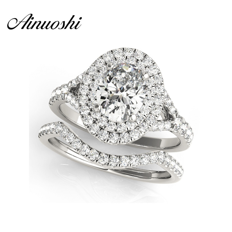 AINUOSHI 925 Sterling Silver White Gold Color Queen Anniversary Ring Sets Sona 0.5 Carat Oval Cut Wedding Halo Bridal Ring Sets цена 2017
