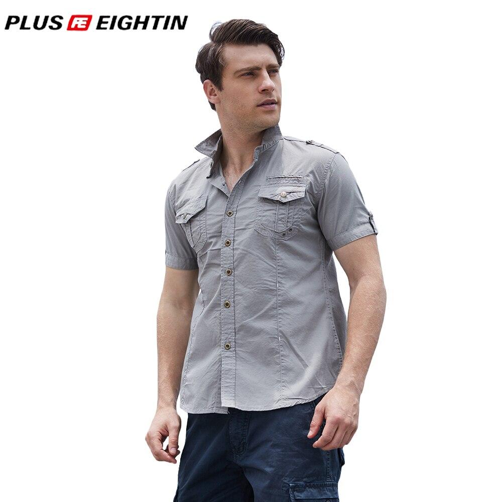 PLUS EIGHTIN New Fashion Men Short Sleeve Workwear Cargo Shirt High Quality Cotton Casual Shirt Male Solid Shirt Brand Clothing