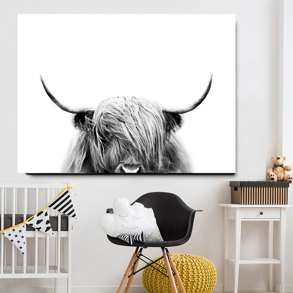 HTB1kYFRJHvpK1RjSZFqq6AXUVXap Black and White Highland Cow Cattle Wall Canvas Art Nordic Painting Poster and Print Scandinavian Wall Picture for Living Room