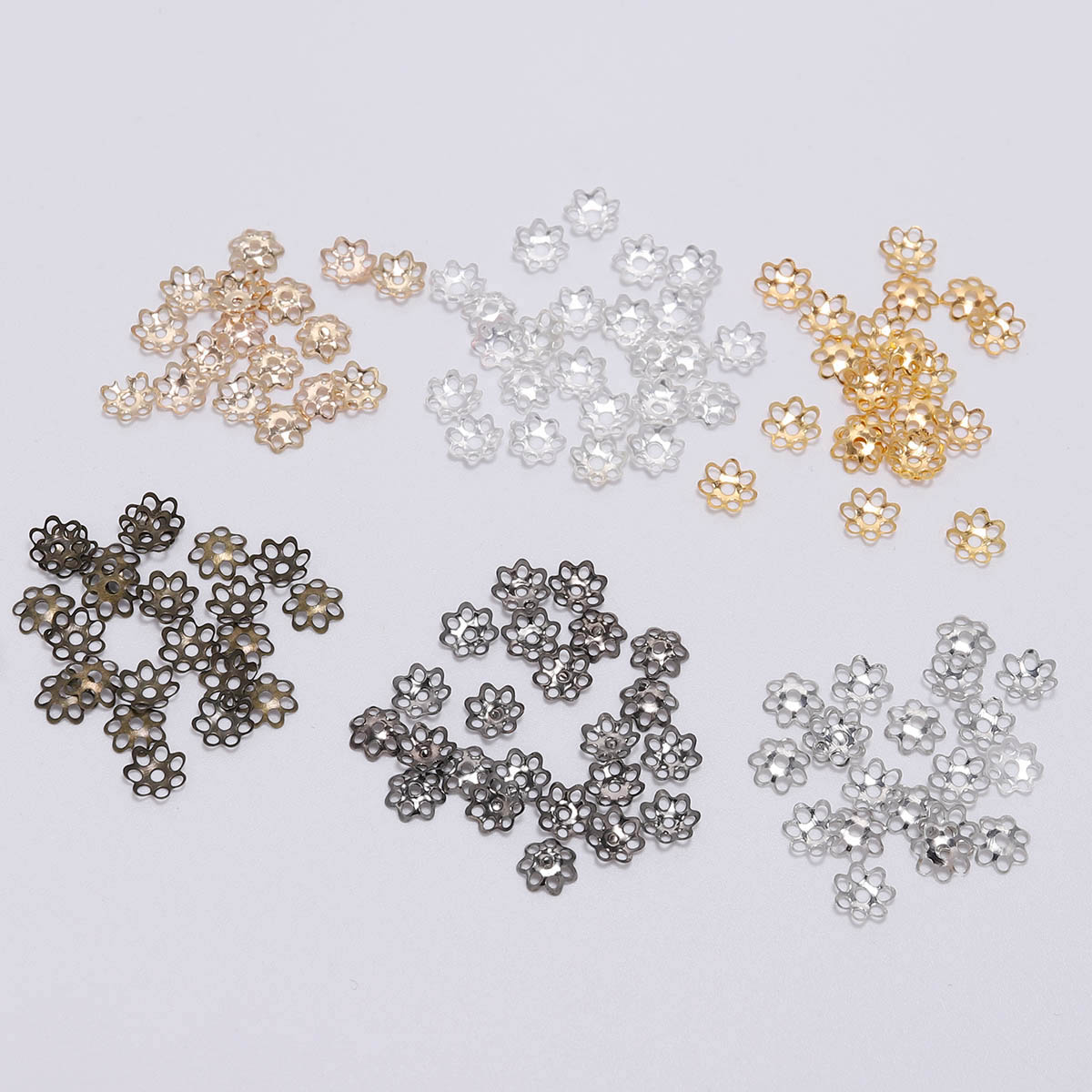 600pcs/Lot 6mm Hollow Flower Findings Cone End Beads Cap Filigree Loose Spacer Bead For DIY Jewelry Finding Making Accessories