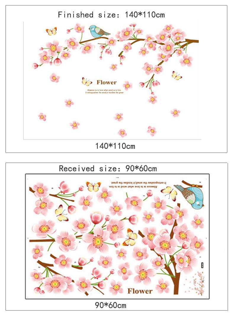 Cherry Blossom Tree Birds Wall Stickers