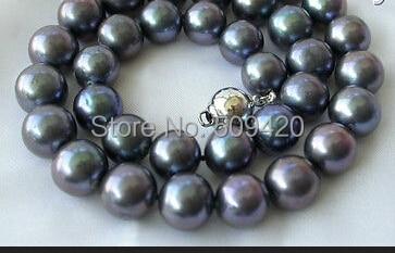 W и O653 >> > потрясающий большой 12 мм идеально круглый черный пресной воды жемчужное ожерелье серебро