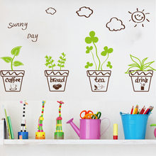 Window stickers self-adhesive glass window wall stickers pastoral fresh hanging basket plant potted skirting window grilles(China)