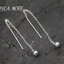 Fyla Mode Fashion Cute Ear Wire Earrings Female Models Long Drop S925 Pure Silver Jewelry Dangle Earrings Brincos TYC169