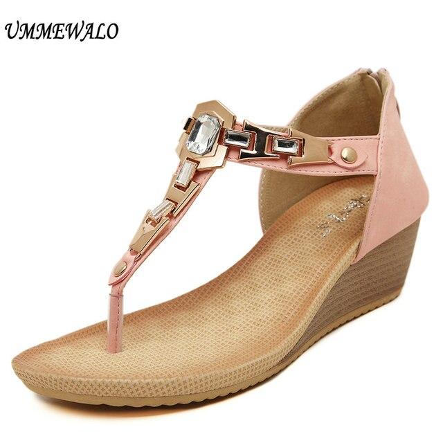d913e6f0ed88 UMMEWALO Summer Sandals Women Designer T-strap Flip Flops Thong Wedges  Sandals Gladiator Sandal Shoes Zapatos Mujer