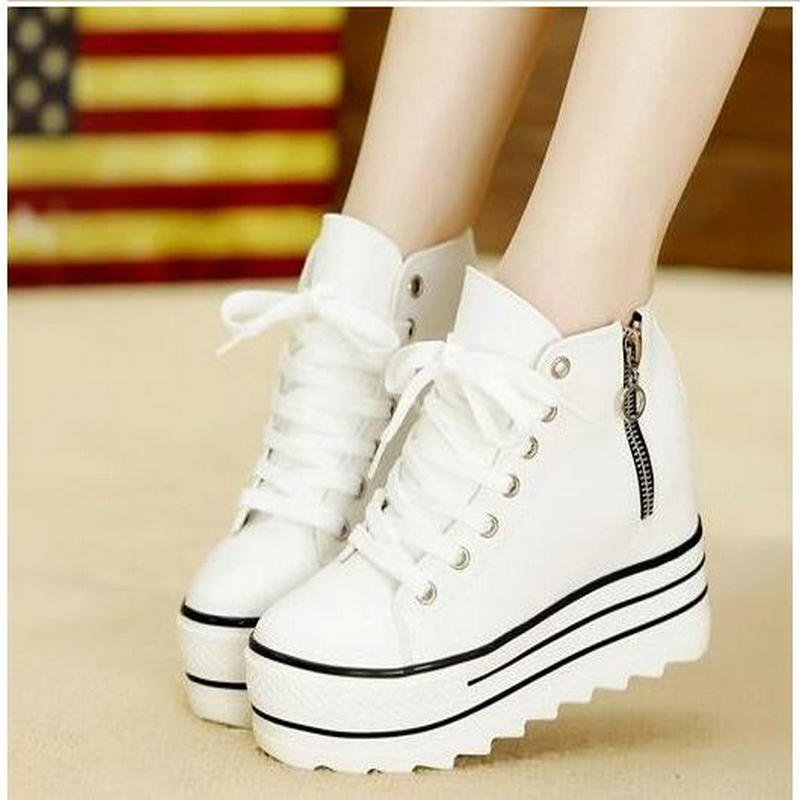 New Fashion Womens High Heeled Platform Canvas Shoes Elevators White Black High Top Casual Woman Shoes with Zipper charter club 2738 new womens white cotton henley top shirt petites ps bhfo