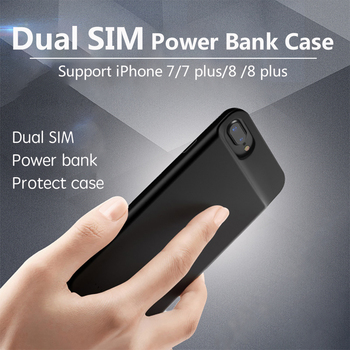 Dual SIM Dual Standby Adaper rubber frame Ultrathin Long Standby for iPhone7/7 plus/8/ 8 plus & 1800/2500 mAh Power Bank