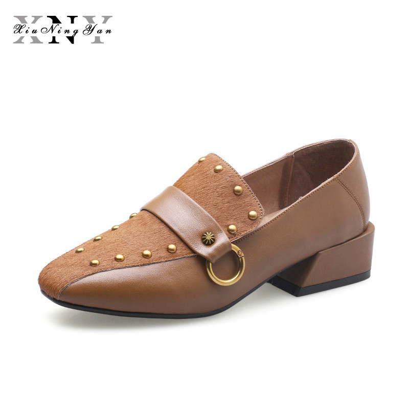 XiuNingYan 2019 Women Flats Spring Casual Shoes Square Heel Genuine Leather+horseHair Black Square Toe Ladies Dress Shoes Woman venchale woman flats 2018 spring new come low heel casual shoes genuine leather square toe solid color good quality flat shoes