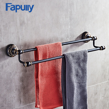цена на Fapully Towel Rack Shelf Black Bathroom Towel Bar Wall Mounted Double Bar Bathroom Accessory