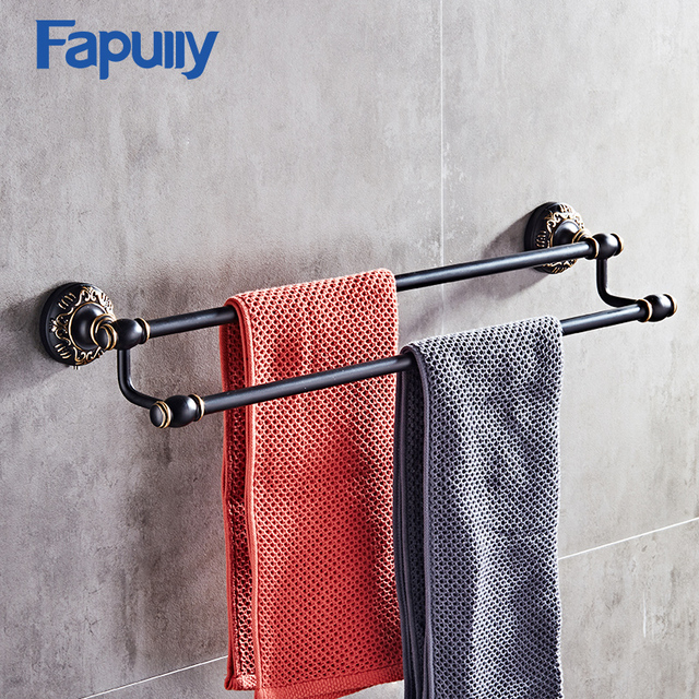 Fapully Towel Rack Shelf Black Bathroom Towel Bar Wall Mounted ...