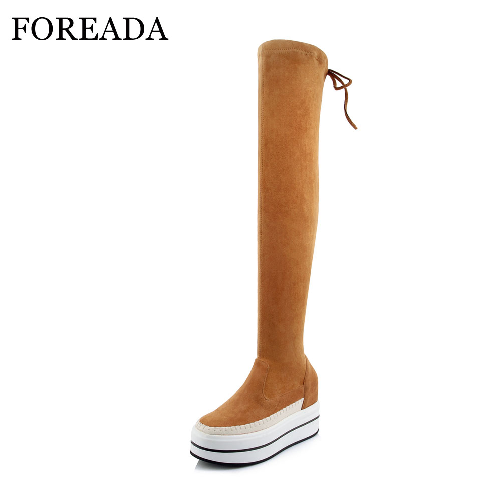 FOREADA Genuine Leather Over The Knee Boots Women Winter Thigh High Boots Platform Wedges High Heel Suede Boots Female Autumn de la chance winter women boots high quality female genuine leather boots work