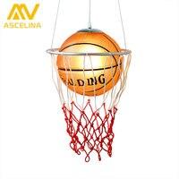 New Creative Children Bedroom Lights Balcony Basketball Pendant Light LED Lamp Drop Lamp E27 Bedroom Dining