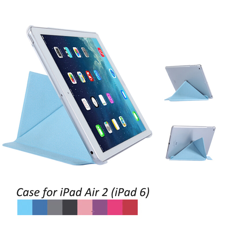 Flip Stand Wake Sleep Smart Case Skin PC Back Cover for Apple iPad Air 2 iPad6 A