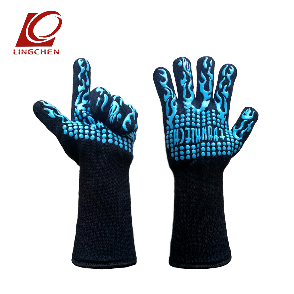 Blue Anti-skid Silicone Aramid Materials Polyester/cotton Lining Camping Barbecue Eldiven Heat Resistant Flame Retardant Gloves 1 pair heat resistant gloves for outdoor camping kitchen cooking aramid heat insulation oven mitts red silicone flame retardant