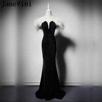 JaneVini черная Русалка Вечерние платья с белым платье с отделкой плюшем бархат Для женщин вечернее платье элегантный бисером платья для красн
