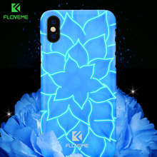 FLOVEME 3D Luminous Case For iPhone X 10 Luxury Lily Flower Luminous Light Hard PC Cover For iPhone 7 8 Plus Case Accessories(China)