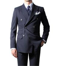 MS16 2017 Chalk Stripe Men Suit Custom Made Navy Blue Mens Striped Suit,Tailored Double Breasted Men Suits With Ticket Pocket