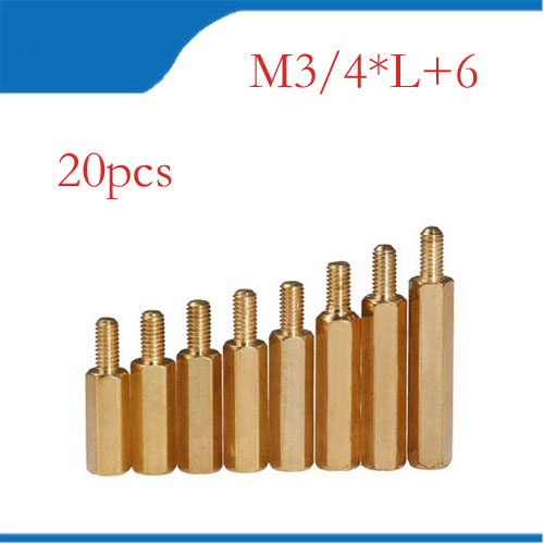 Free shipping (20 PC/lot) M3,M4 *L+6mm Hex Nut Spacing Screw Brass Threaded Pillar PCB Standoff Spacer hw040 60pcs set good quality brass m3 standoff spacer female spacing screws hex threaded spacer pillar nuts length 4 6 8 10 12 18 20mm