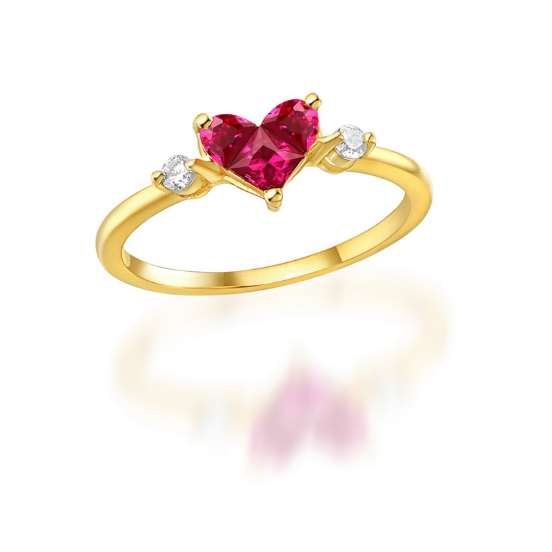 JXXGS Hot Sale Red Corundum With White Zircon Ring 14k Gold Heart Shape Ring For Women