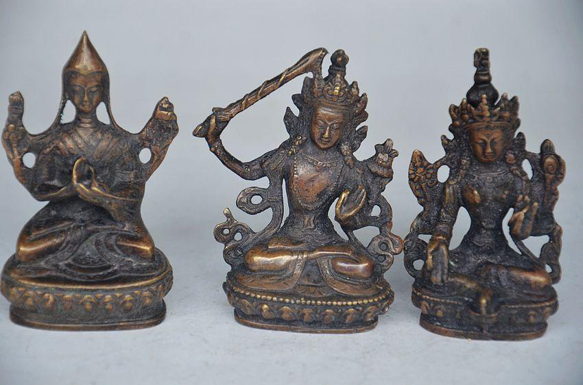 TIBET TIBETAN BUDDHISM OLD BRONZE HANDWORK CARVED 3 BUDDHA STATUETIBET TIBETAN BUDDHISM OLD BRONZE HANDWORK CARVED 3 BUDDHA STATUE
