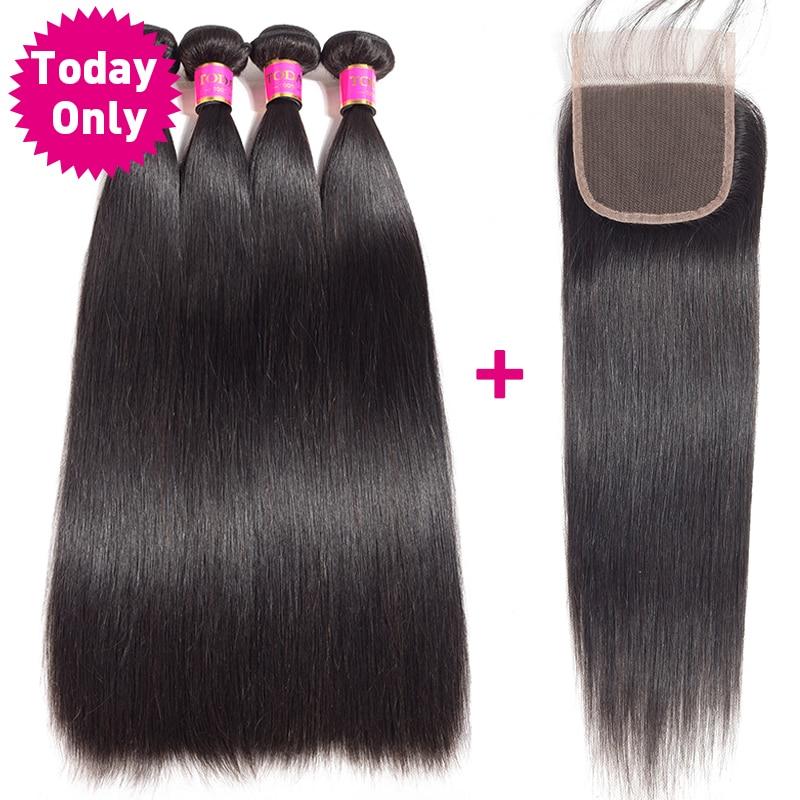 TODAYONLY Brazilian Straight Hair Bundles With Closure Brazilian Hair Weave Bundles With Closure Human Hair Bundles