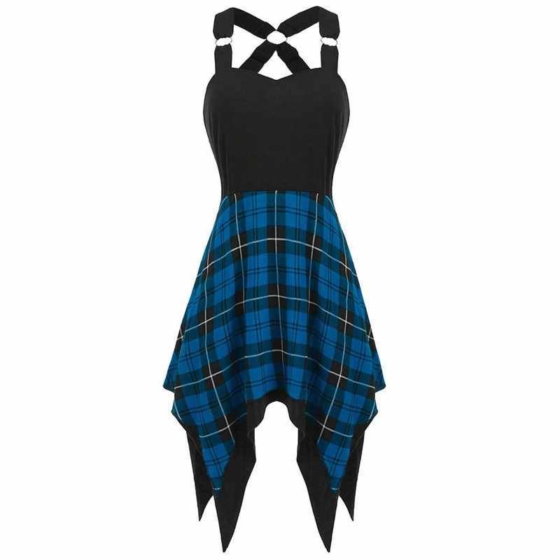 Женское сексуальное платье, новинка, без рукавов, с пряжкой, на бретельках, с открытой спиной, в клетку, с строчкой, асимметричные вечерние летние платья, 2019, на бретельках