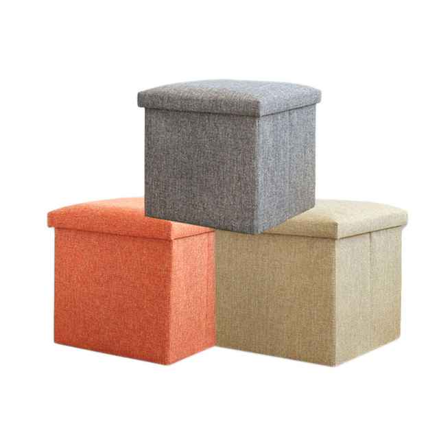 Multi Function Linen Storage Box Foldable Square Stool For Storage Clothes  Books Toys Decoration Organizer