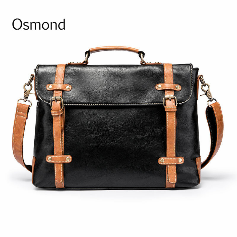71a939ace398 Osmond Brand Men s Briefcase Handbag Retro Leather Messenger Travel Bag  Business Men Tote Bags Man Casual