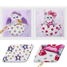 Special shape diamond painting cat wearing hat full point cross stitch embroidered brick Mosaic embroidery kits