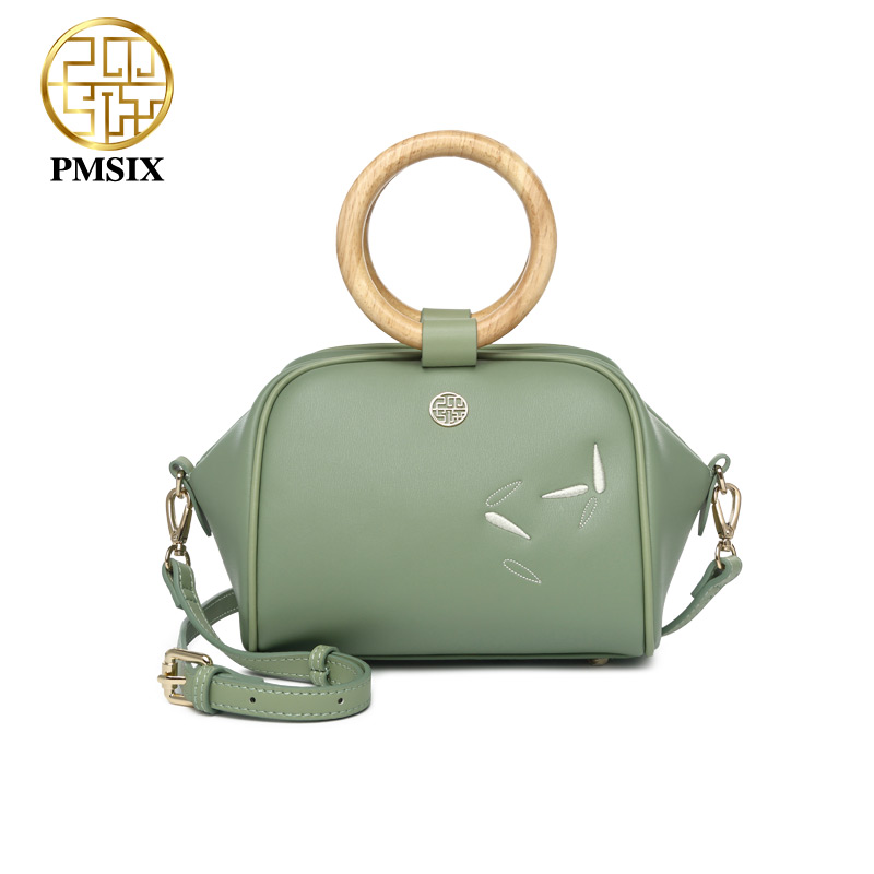 Pmsix luxurious ladies bags wooden handle Green Split Leather Handbags for women Embroidery Flowers soft Simple messenger bags elsie mochrie simple embroidery