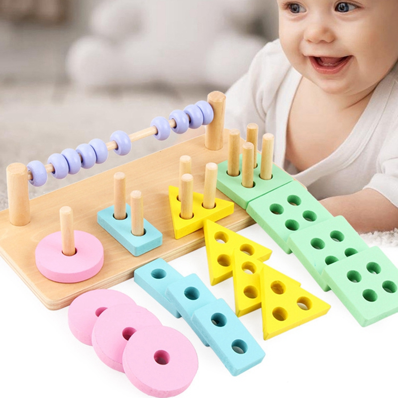 Wooden Two In One Early Education Puzzle Geometric Building Block Shape Cognitive Calculation Beads Wooden Four Column Blocks in Color Shape from Toys Hobbies