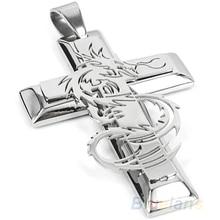 Bluelans Men's Silver Stainless Steel Dragon Cross Pendant Necklace Chain