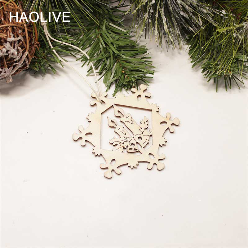 6 Haolive 10pcs Wooden Parts Candles Christmas Tree Pendants