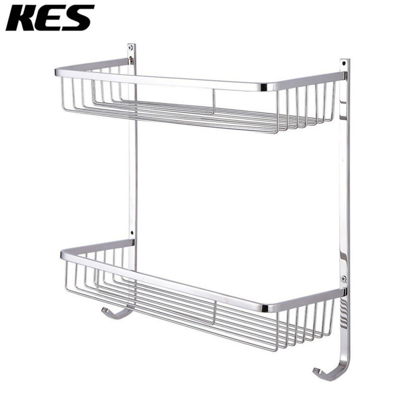 KES A2126/A2126-2 Bathroom Extra Deep 2-Tier Rectangular Shelf Basket Stainless Steel Wall-Mounted, Polished/Brushed цена и фото