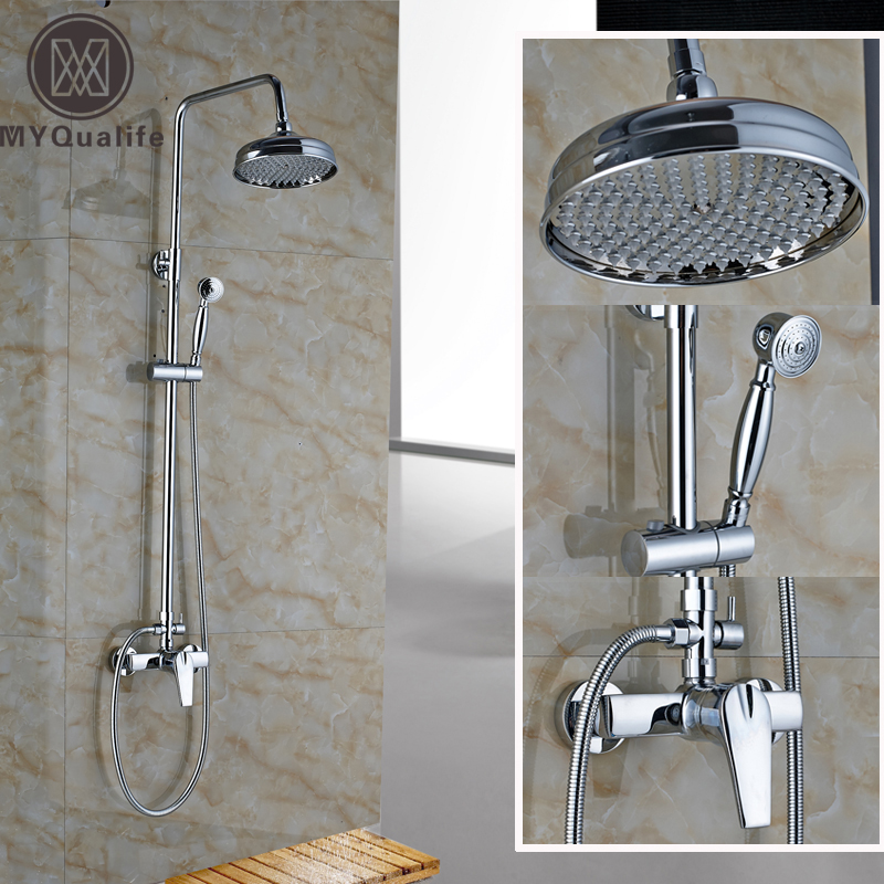 Chrome Finished Bathroom Shower Set faucet Single Handle with Hot and Cold Water Shower Complete Mixer Taps frap colorful combination shower faucet cold and hot water mixer single handle with shower bar and basin faucet f1031 f2431