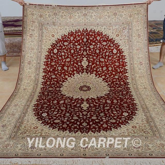 Yilong 6 X9 Ruang Tamu Karpet Merah Vantage Tradisional Turki Cina Buatan Tangan Permadani