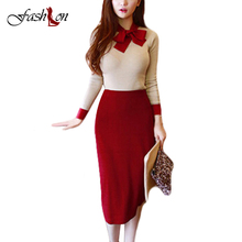 New Spring Style Casual Women Knitting Suits Patchwork Butterfly Lace-Up Collar Full Sleeve Tops Skinny Slim Bust Skirt 2 Pieces