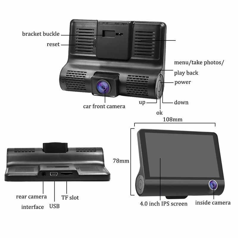 4 Inch FHD 1080P IPS Cảm Biến Tầm Nhìn Ban Đêm 3 Ống Kính Máy Ảnh Cylic Ghi Hình Video Registrator tự động camera tiếng Nga