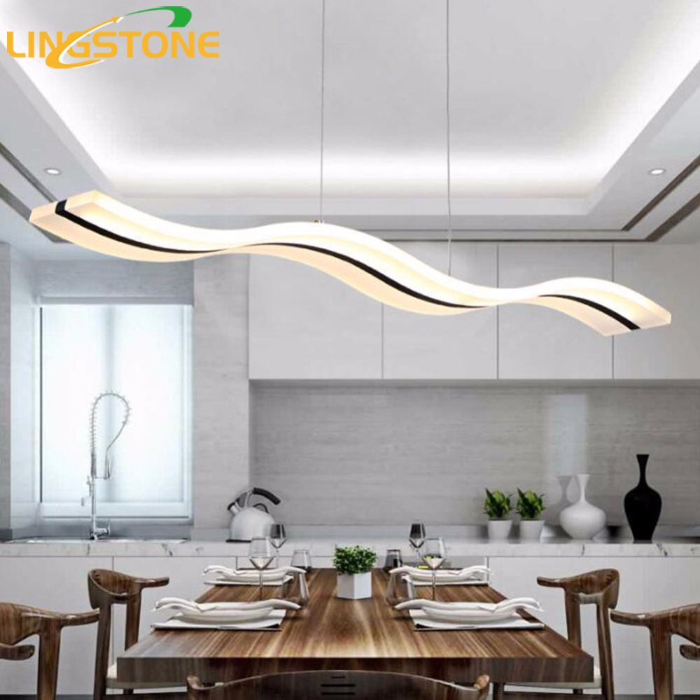 Modern pendant lights kitchen living dinging room light fixtures led hanging lamp luminaires dimmable with control ac90 260v in pendant lights from lights