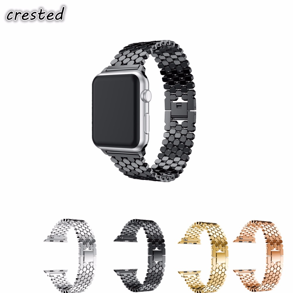 CRESTED Stainless Steel strap For Apple Watch Band 42mm 38mm iwatch 3 2 1 link Bracelet replacement wrist band Strap scales 38mm 42mm strap for apple watch stainless steel mesh magnetic replacement wrist band with protective case for iwatch
