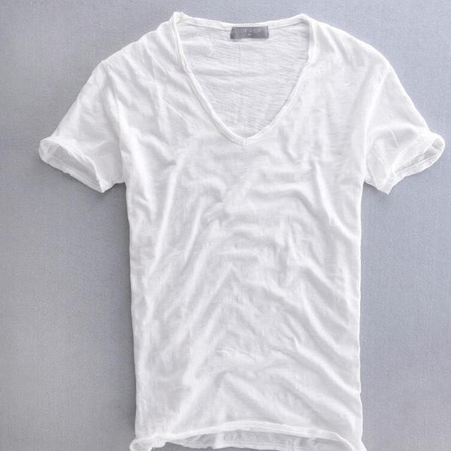 12466779a08 Summer Mens 100% Cotton T Shirt Plain White Breathable Men s V Neck Vintage  Retro Tee