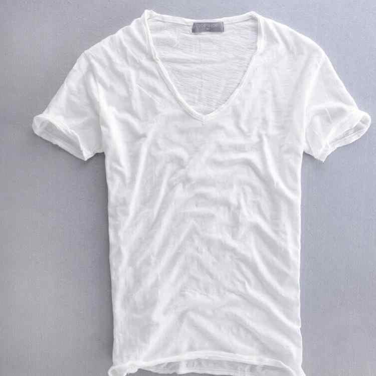 fc89cd973d9a Summer Mens 100% Cotton T Shirt Plain White Breathable Men's V Neck Vintage  Retro Tee