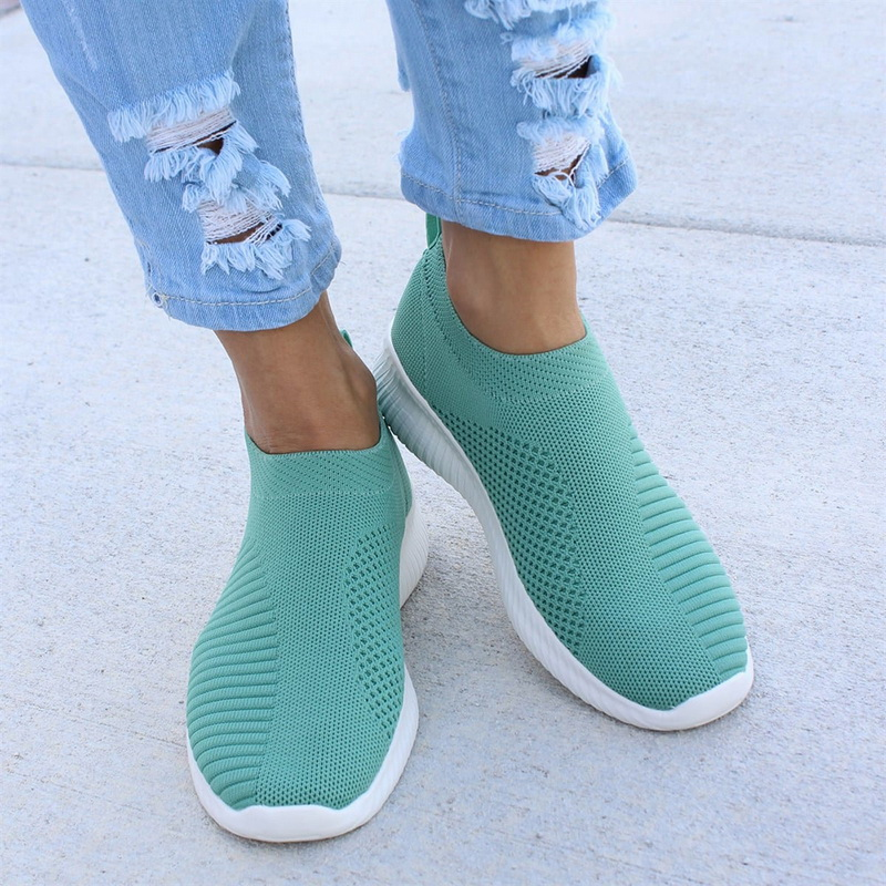 Women Sneakers Knitted Vulcanized Shoes Casual Slip On Ladies Flat Shoe Mesh Trainers Soft Walking Footwear Zapatos Mujer Female